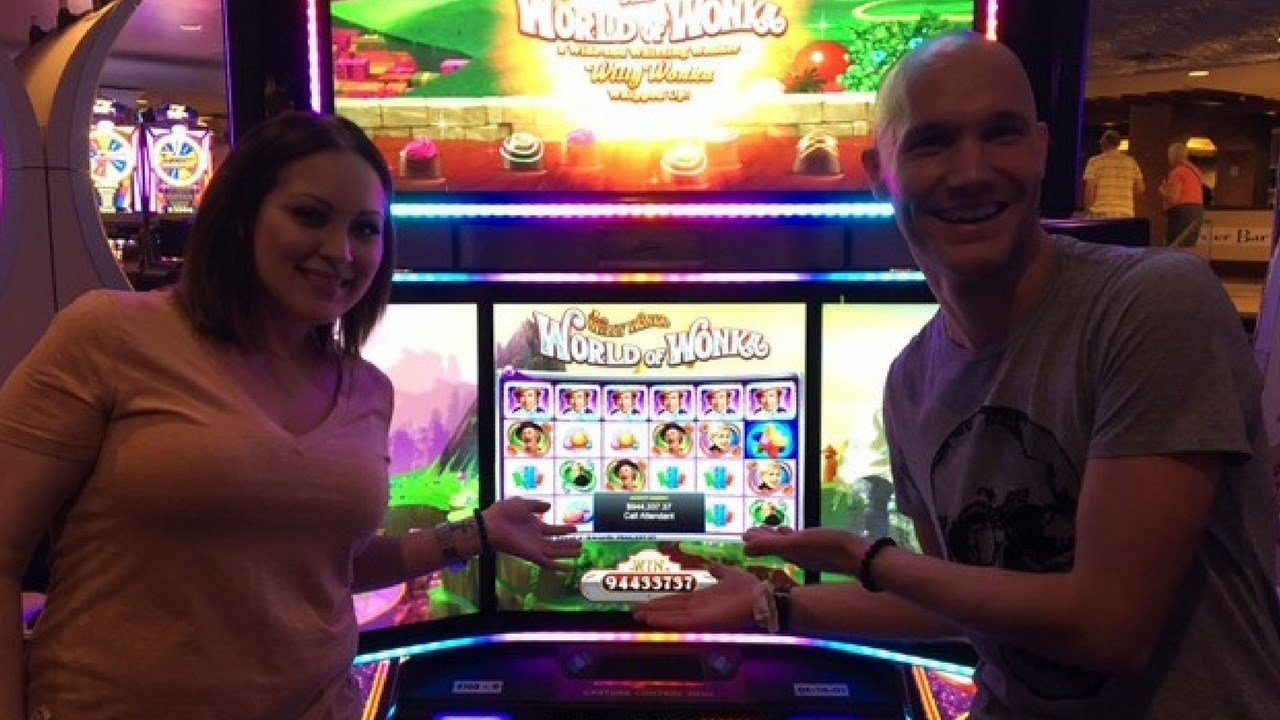 Back on June 18, Nicholas Blaskowski and Nicole Perry were playing the Willy Wonka Penny slot machine at Harrah's Casino  when they hit the jackpot. (Source: Caesars Entertainment)