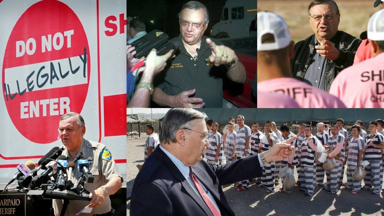 In this Thursday, July 29, 2010 file photo, Maricopa County Sheriff Joe Arpaio speaks in Phoenix announcing his crime suppression sweeps. (left) (Source: AP Photo/Matt York, File)