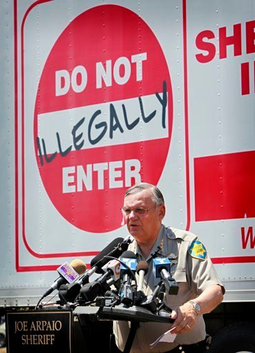 FILE-In this Thursday, July 29, 2010 file photo, Maricopa County Sheriff Joe Arpaio speaks in Phoenix announcing his crime suppression sweeps. The former longtime sheriff of metro Phoenix will go to court Monday, June 26, 2017 (Source: AP Photo/Matt York)