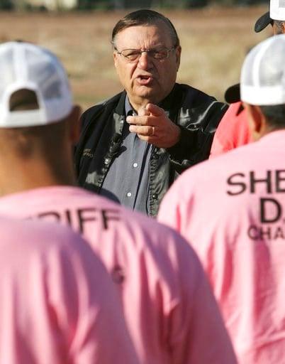 FILE-In this Dec. 11, 2007 file photo, Maricopa County Sheriff Joe Arpaio addresses members of a chain gang in Phoenix. (Source: AP Photo/Matt York, File)