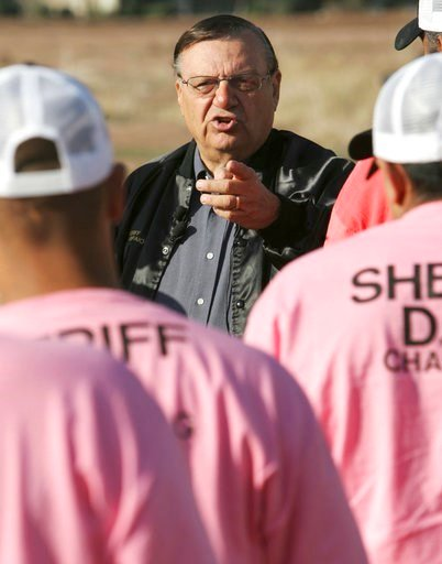 FILE-In this Dec. 11, 2007 file photo, Maricopa County Sheriff Joe Arpaio addresses members of a chain gang in Phoenix. (Source: AP Photo/Matt York, File)