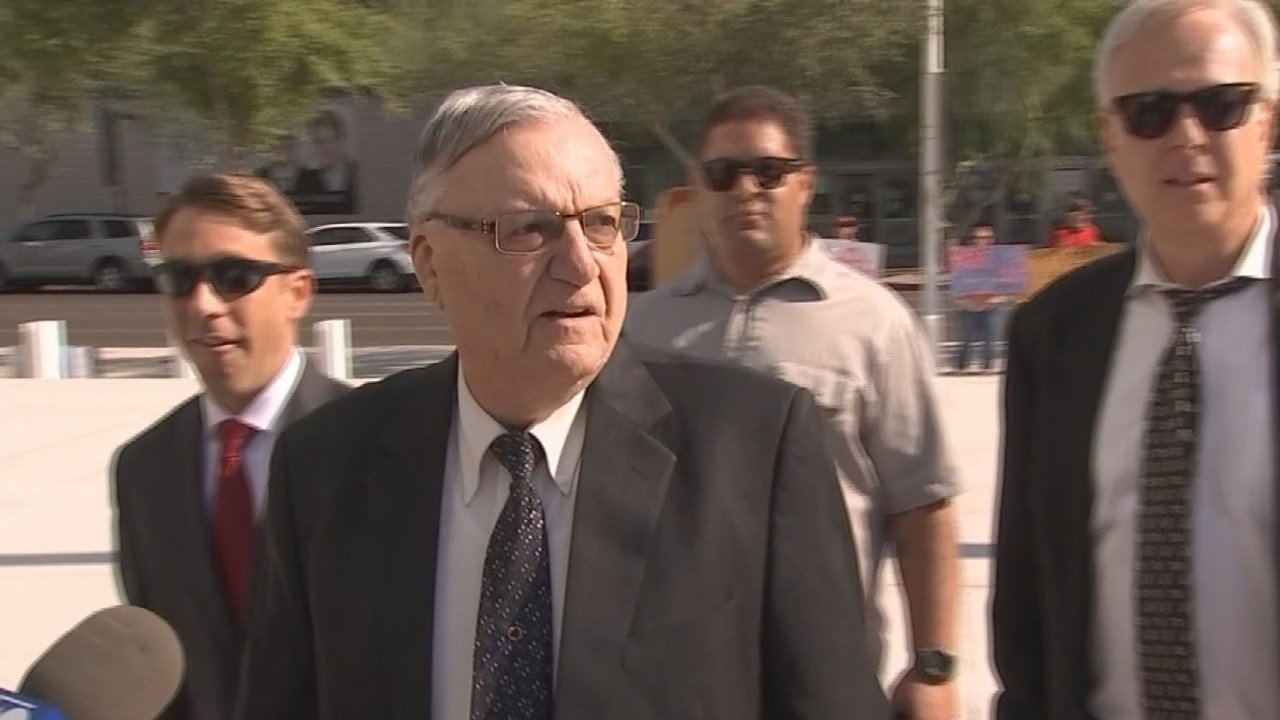 Former Maricopa County Sheriff Joe Arpaio arrives at U.S. District Court on the first day of his contempt-of-court trial Monday, June 26, 2017, in Phoenix. (Source: 3TV/CBS 5))