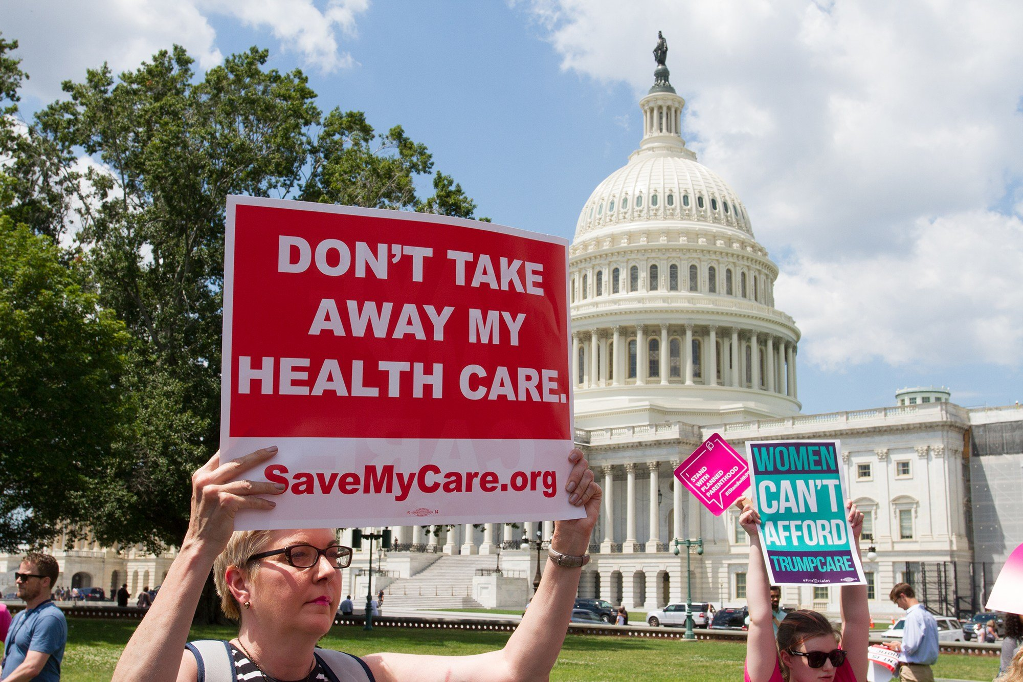 Protesters opposed to the Senate Republican plan to replace Obamacare made their feelings known at a rally last week at the Capitol. (Source: Nathan J. Fish/Cronkite News)
