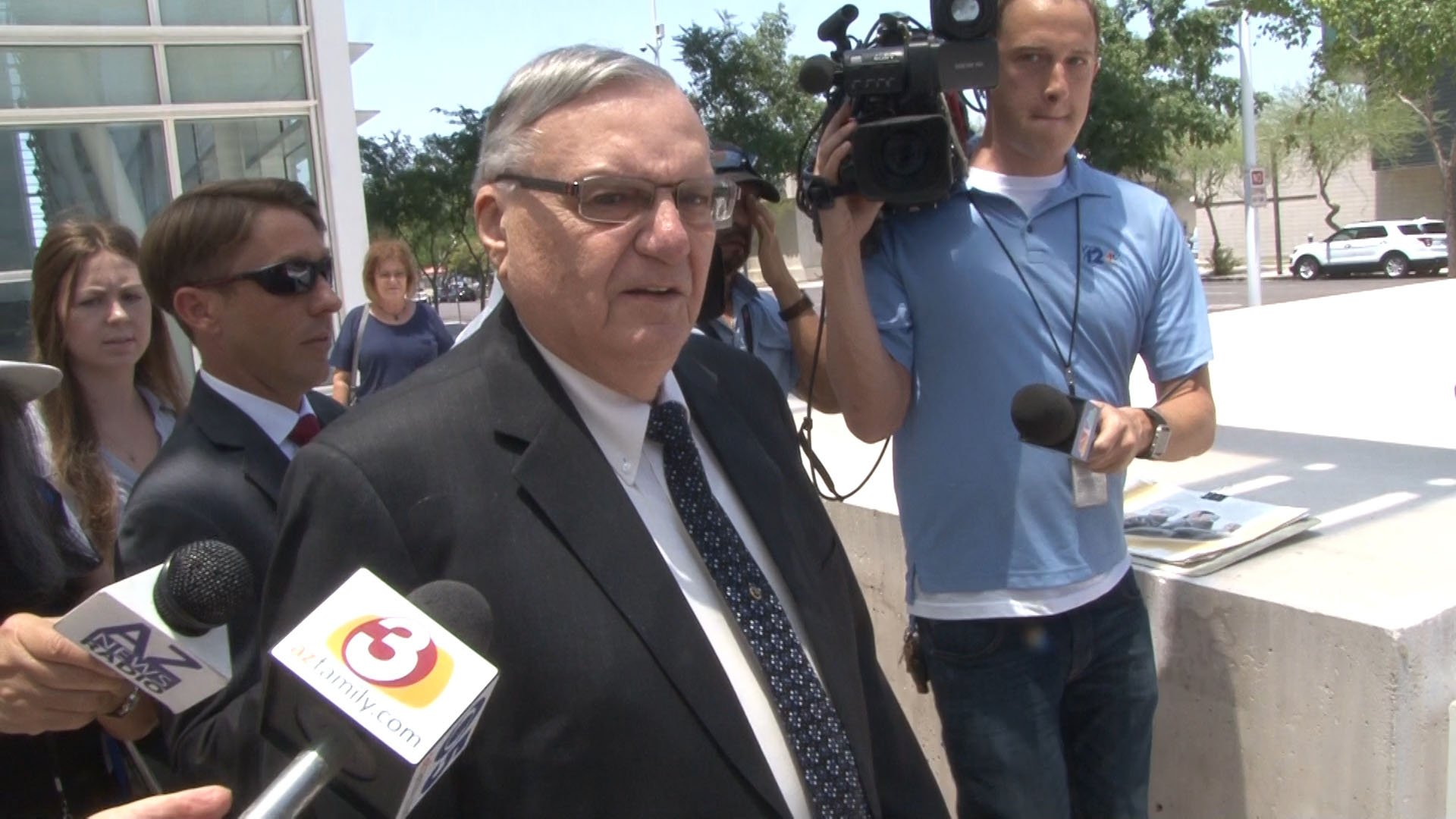 Former Maricopa County Sheriff Joe Arpaio declined to say whether he would take the witness stand during his criminal contempt trial. (Source: Tyler Fingert/Cronkite News)
