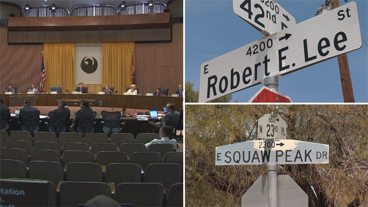 "The Phoenix City Council voted it can rename ""offensive"" street names without the public's approval. (Source: 3TV/CBS 5)"