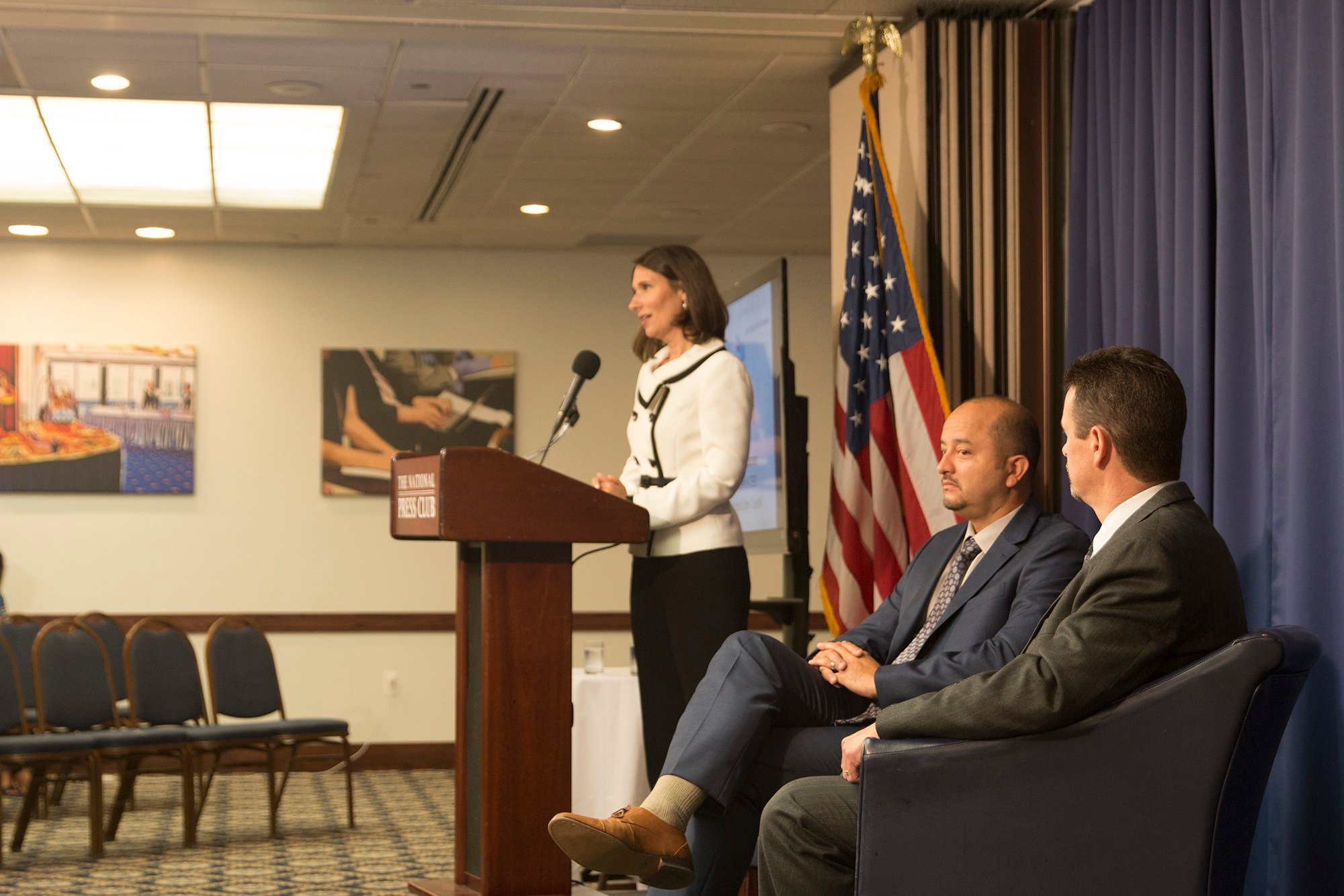 Arizona fared poorly on the National Safety Council's national new national report card on safety. Council President Deborah Hersman speaks at the release of the report with, from left, Rodrigo Garcia and Thomas Goeltz. (Source: Joe Gilmore/Cronkite News)