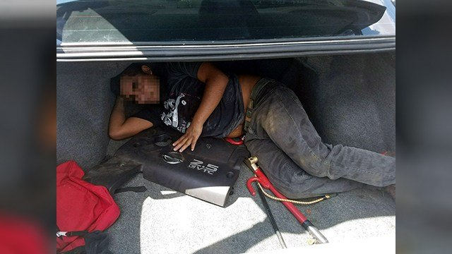 A man was found in a trunk trying to get into the U.S. illegally, Border Patrol agents said. (Source: U.S. Customs and Border Protection)