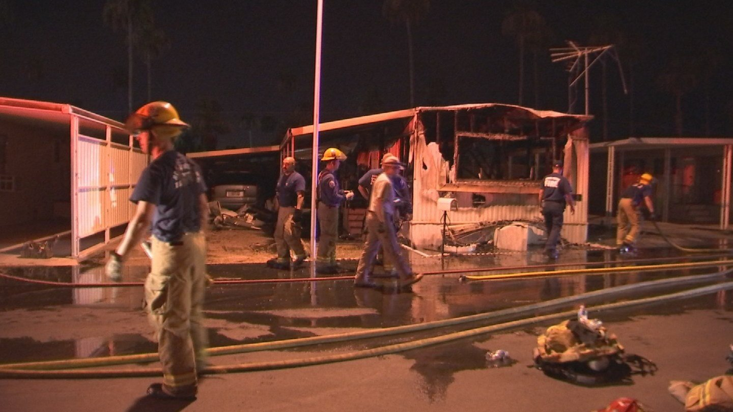 A trailer home was a complete loss after an overnight fire in Apache Junction. (Source: 3TV/CBS 5)