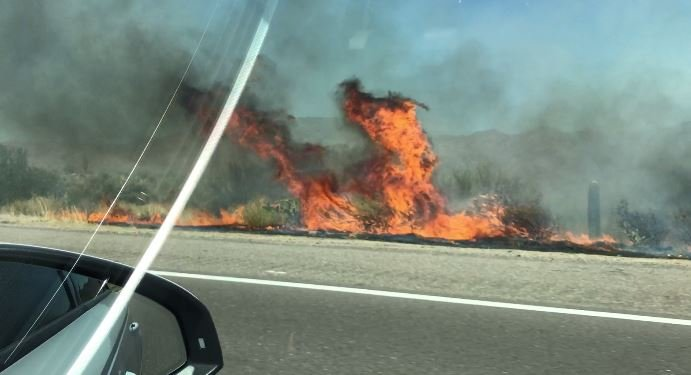 Brush fire burning along SR87 near Ft.McDowell.  (30 June 2017) [Source: Jennifer Haggard]