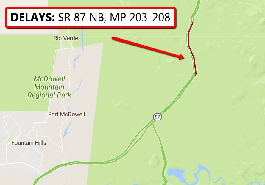 ADOT map showing SR87 brush fire delays. (30 June 2017) [Source: Arizona Dept. of Transportation]