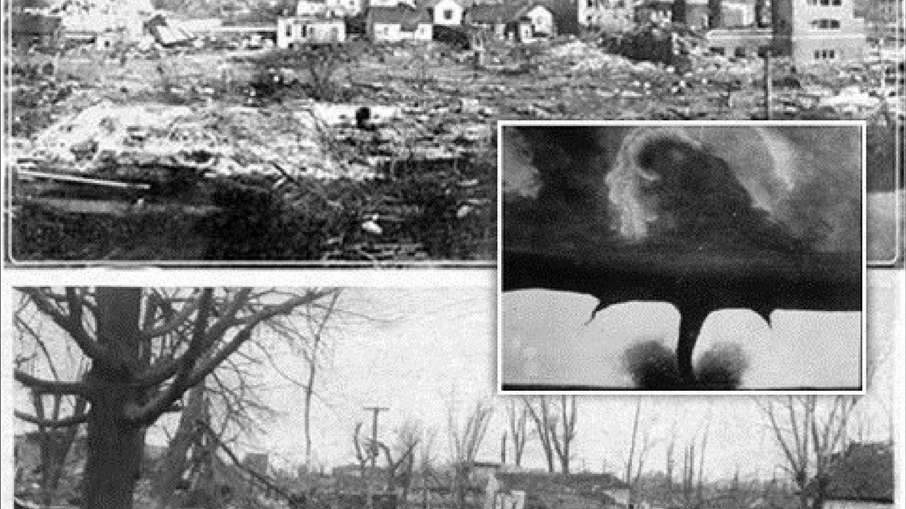 Headline on the front page of the newspaper the day after the 1925 tornado outbreak (Source: weather.org)