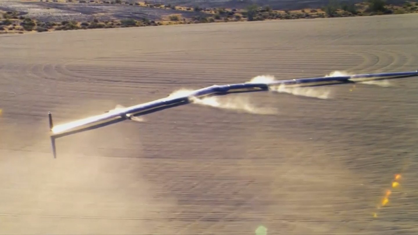 """""""When Aquila is ready, it will be a fleet of solar-powered planes that will beam internet connectivity across the world,"""" Mark Zuckerberg wrote Thursday on Facebook. (Source: 3TV/CBS 5)"""