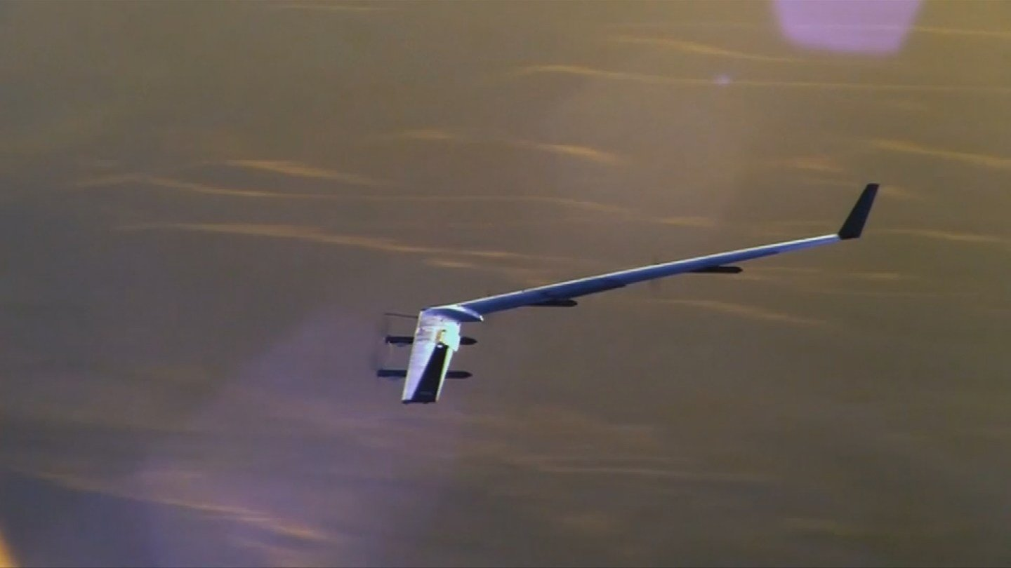 The drone weighs about 1,000 pounds (450 kilograms) and has a longer wingspan than a Boeing 747. (Source: 3TV/CBS 5)