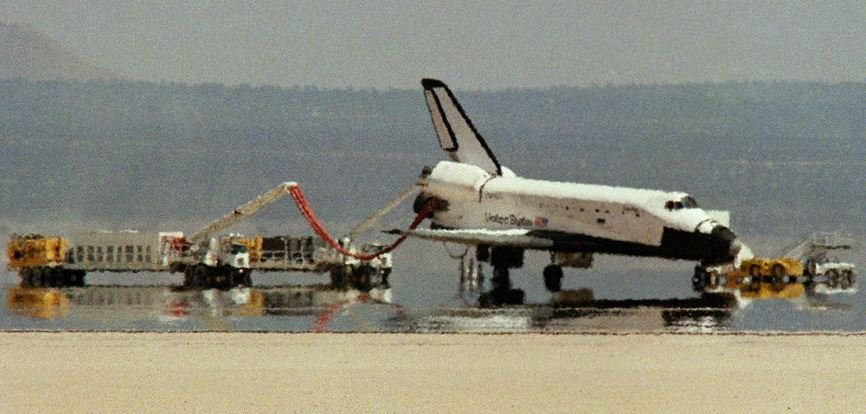 A huge mirage seen with a shuttle at Edwards AFB. (NASA--Ctien)