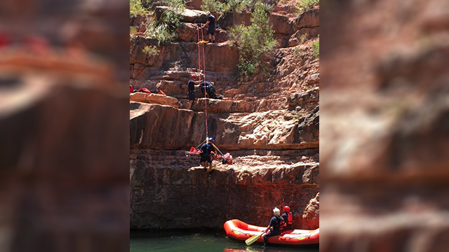 Rescue teams had to use a technical rope system while saving an injured cliff jumper in Sedona. (Source: Sedona Fire)
