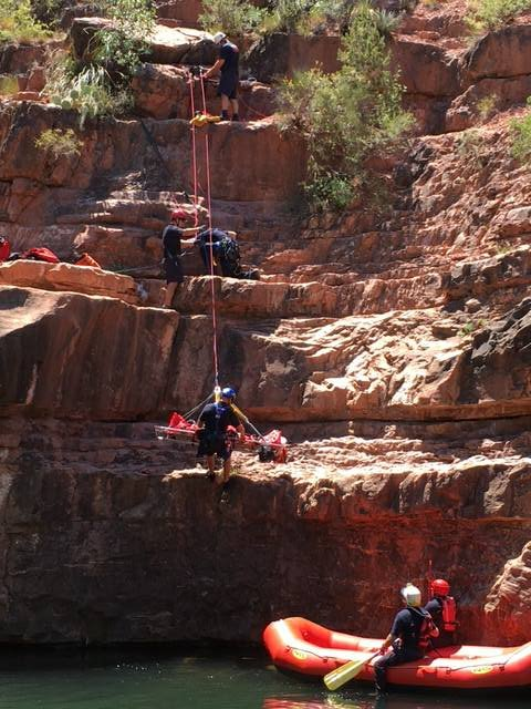 The woman was lowered into a raft. (Source: Sedona Fire Department)