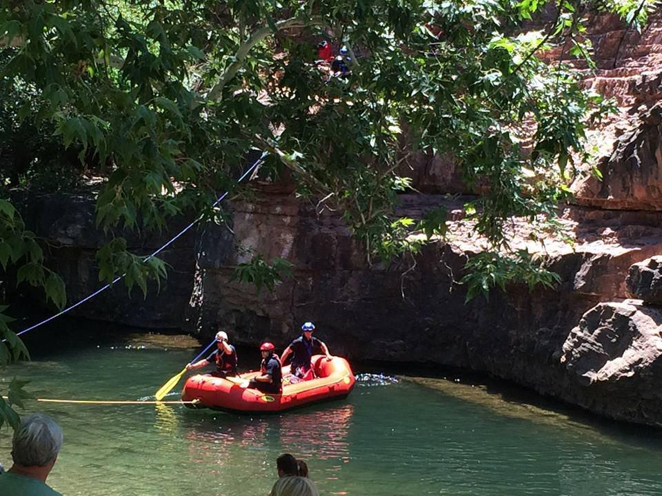 Once the victim was in the raft, she was taken to land and put in an ambulance. (Source: Sedona Fire Department)