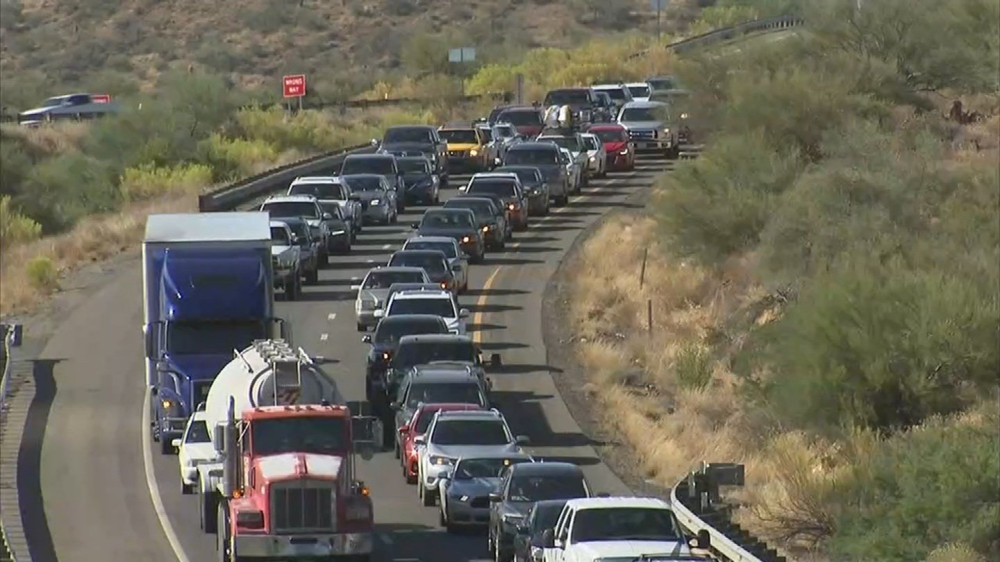 A wrong-way driver triggered six crashes on southbound Interstate 17 Tuesday afternoon, killing one person and causing traffic to back up for miles. (Source: 3TV/CBS 5)