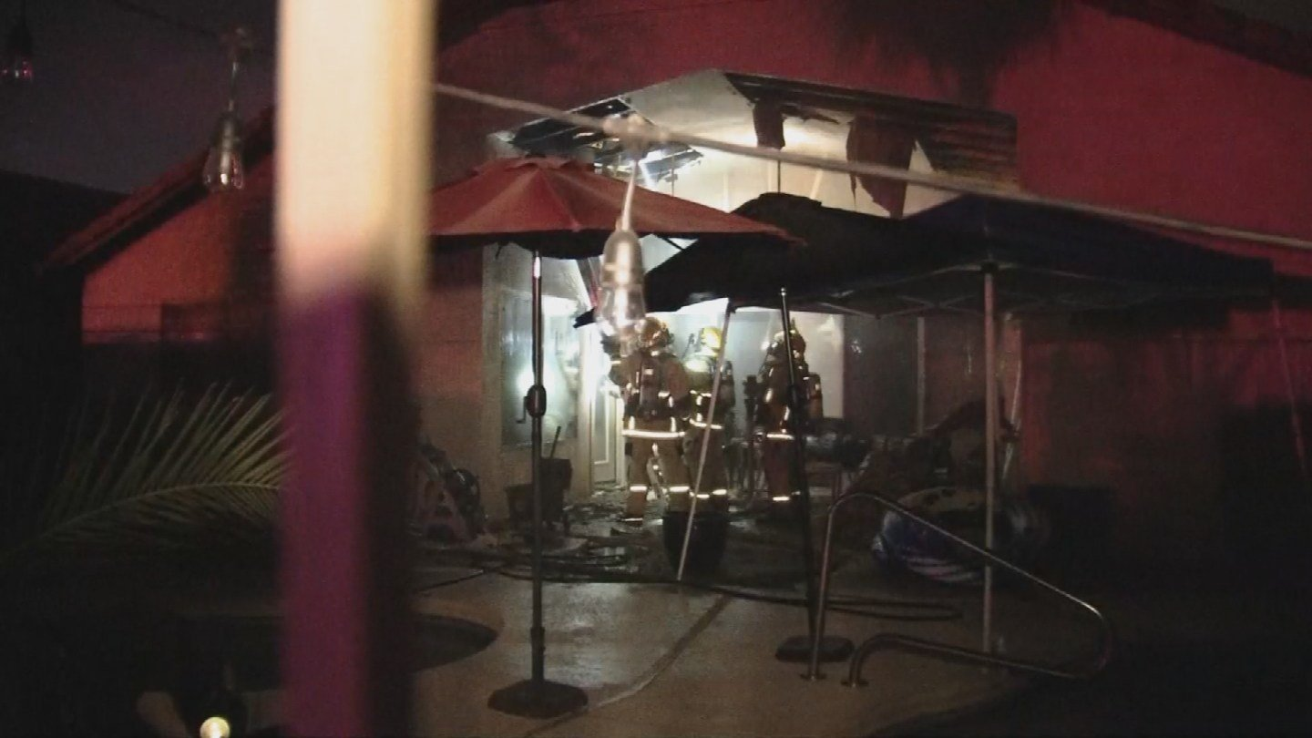 A family of five escaped safely after their Phoenix house caught fire early Wednesday morning. (Source: 3TV/CBS 5)