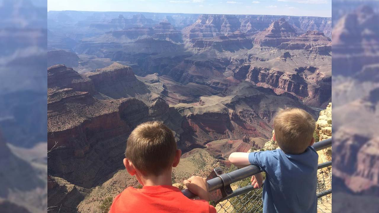 April's boys check out the Grand Canyon