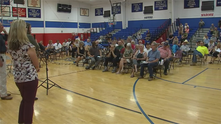 Dozens of people showed up for a meeting about the flooding danger around the Goodwin fire area. (Source: 3TV/CBS 5)