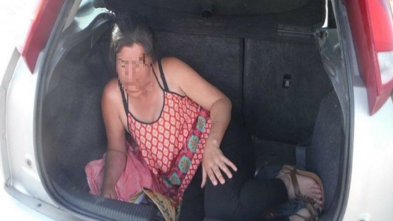 Woman found hiding in trunk of a car at the State Route 83 immigration checkpoint. (Source: U.S. Customs and Border Protection)