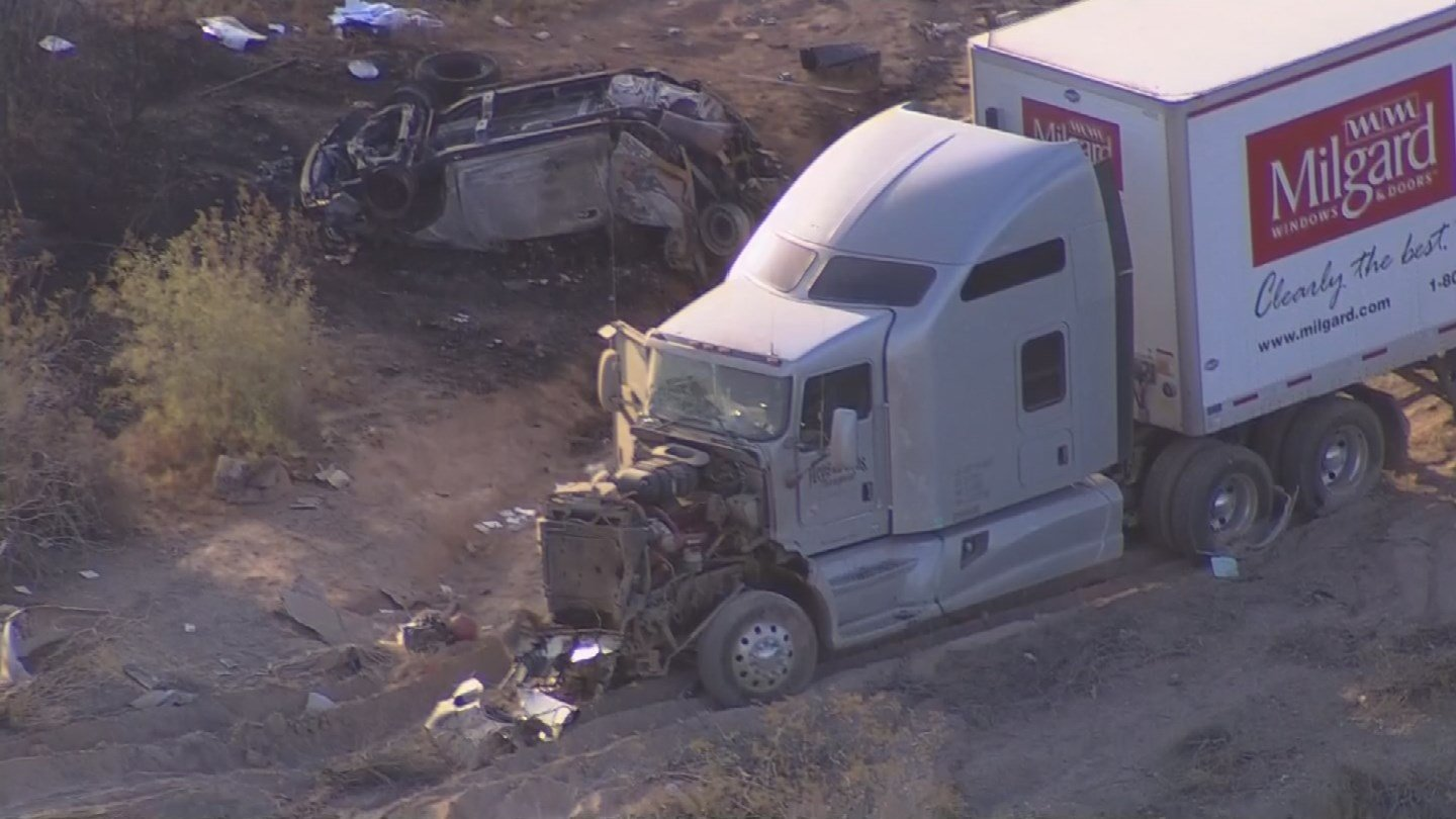 One man is dead after a collision involving a semi-truck and pickup truck closes westbound Interstate 10 for several hours in Tonopah. (Source: 3TV/CBS 5)