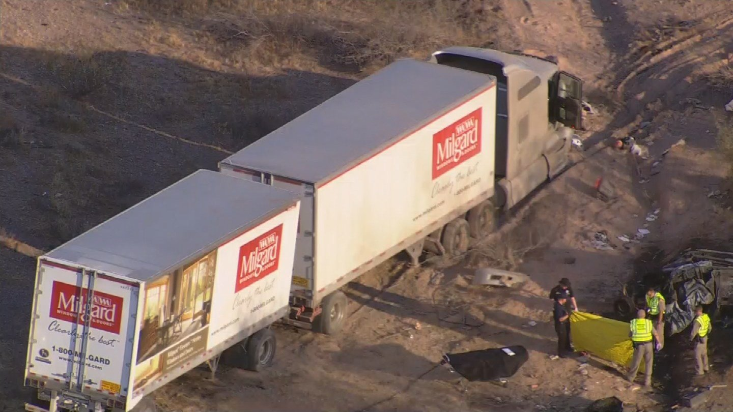 The male semi-truck driver was sent to the hospital with breathing problems and his passenger was uninjured in the accident. (Source: 3TV/CBS 5)