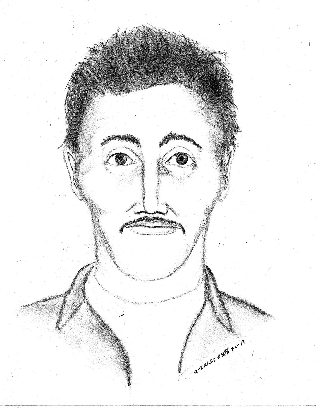 "The suspect is described a Hispanic man, early to mid-30s, 5'5"" to 5'11"", with a thin build, black hair and a black mustache. (Source: Casa Grande Police Department)"