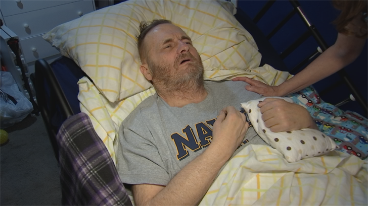 Ray Watersis now bed-ridden following a number of surgeries, chemotherapy and radiation to fight a brain tumor. (Source: CBS 5)