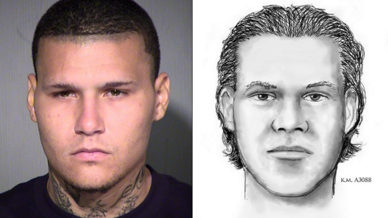 Derek M Johnson (left) and the sketch used to locate him (right). (7 July 2017) [Source: MCSO and Phoenix PD]
