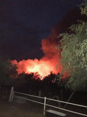 Fire burning near Dudleyville AZ. (Source: Facebook)