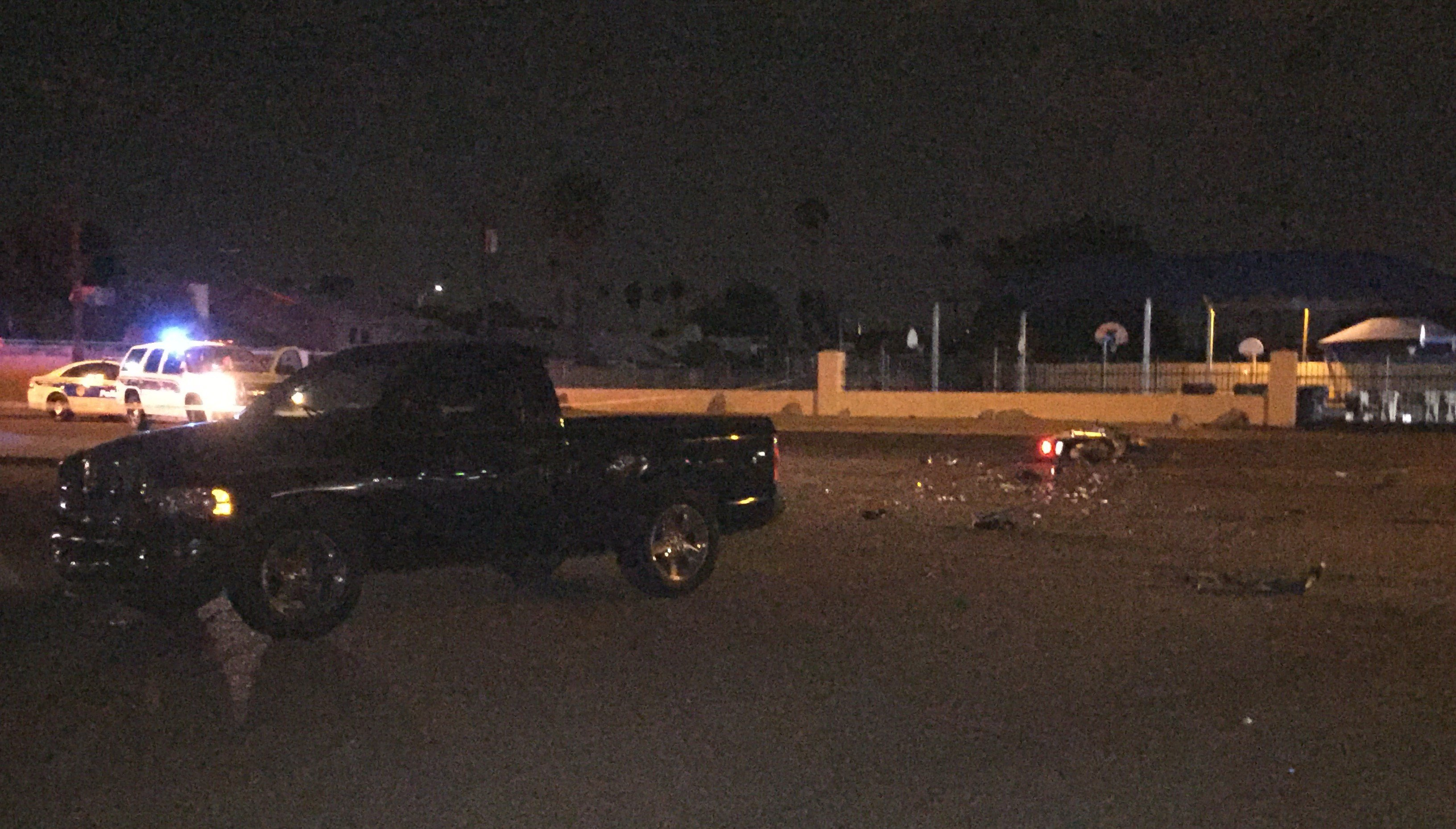 A crash involving a motorcycle left two people in critical condition on Sunday night in Phoenix. (Source: 3TV/CBS 5)