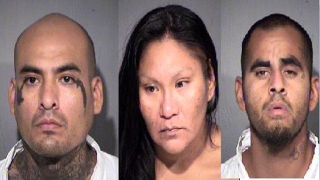 Luis Carlos Urias, 35; Crystal Amy Allison, 33; Anthony Elias Thomas, 26. (10 July 2017) [Source: Maricopa County Sheriff Dept.]