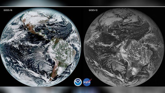 Comparing Satellite Images between the Goes-13 satellite and the Goes-16 satellite. (Source: NASA)