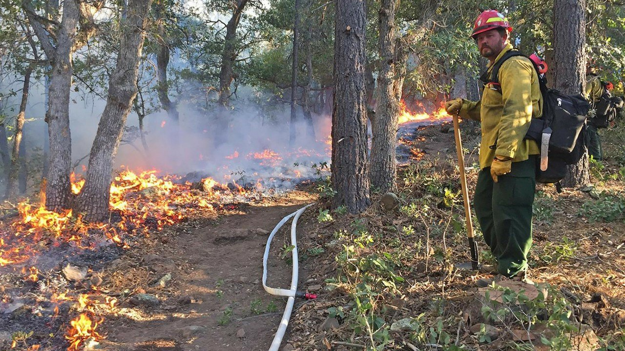 A firefighter works the Goodwin Fire in Yavapai County. Firefighting operations were interrupted twice in six days by drones flying over the fire, which officials say puts firefighters on the ground in danger.  (Photo courtesy U.S. Forest Service)