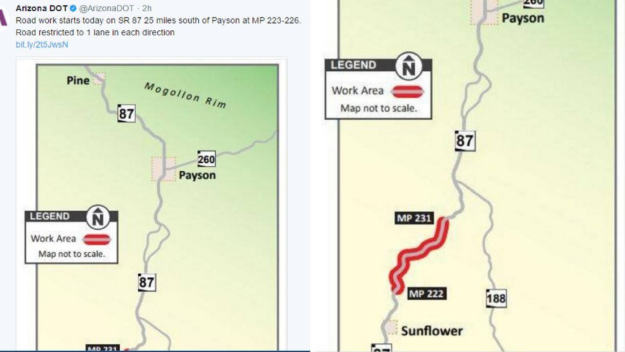Map of SR 87 roadwork. (Source: Twitter/@ArizonaDOT)