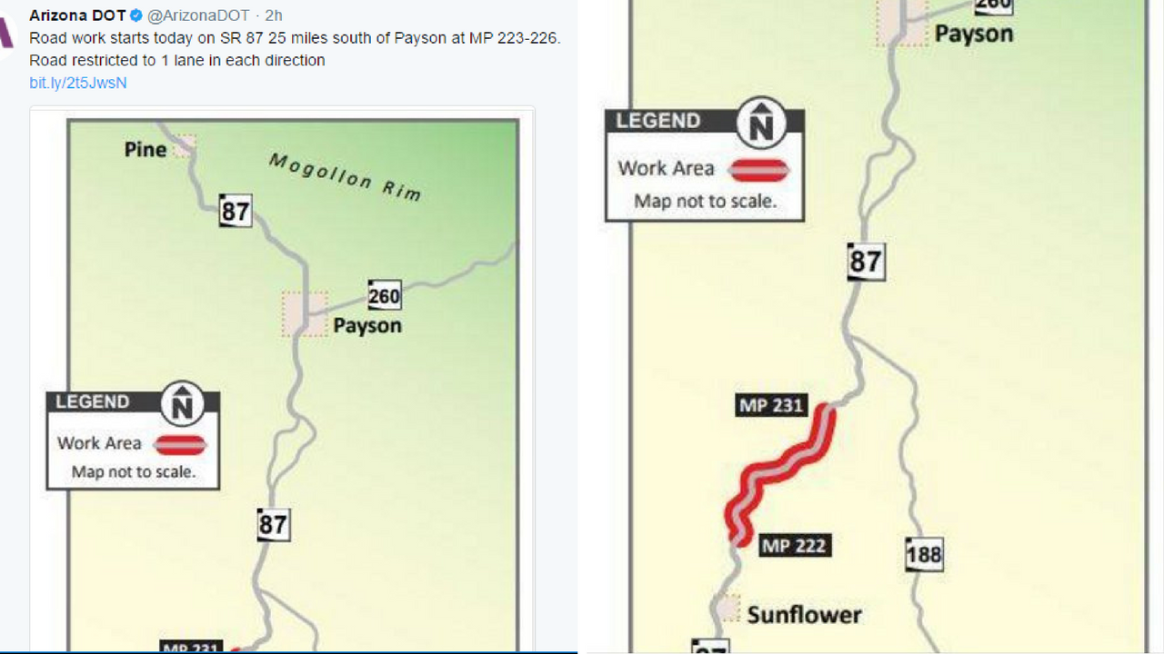 Map of SR 87 roadwork. (Source: Twitter/@ArizonaDOT)