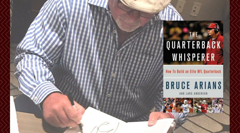 """Bruce Arians releases new book """"The Quarterback Whisperer"""" (Photo source: Twitter)"""