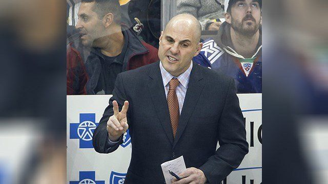 In this March 17, 2017, file photo, Pittsburgh Penguins assistant Rick Tocchet, right, talks with an official during the first period of an NHL hockey game against the New Jersey Devils, in Pittsburgh. (AP Photo/Gene J. Puskar, File)