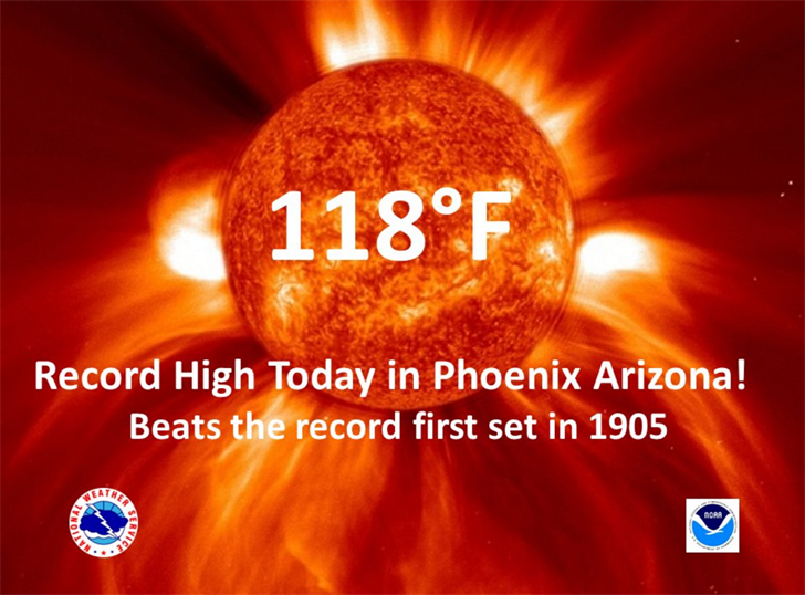 Phoenix hit a record high in July. (Source: NWS Phoenix)