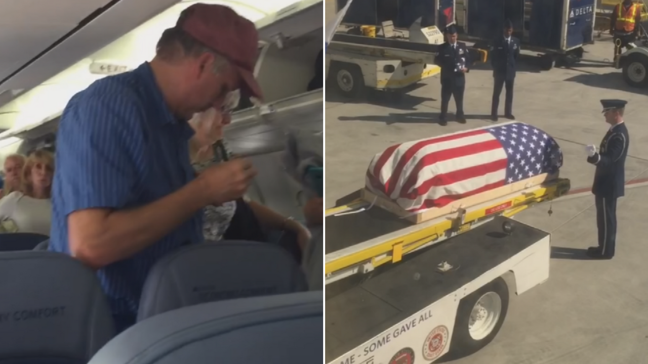 People got up on a flight while the body of an airman was still be moved off the plane. (Source: 3TV/CBS 5)