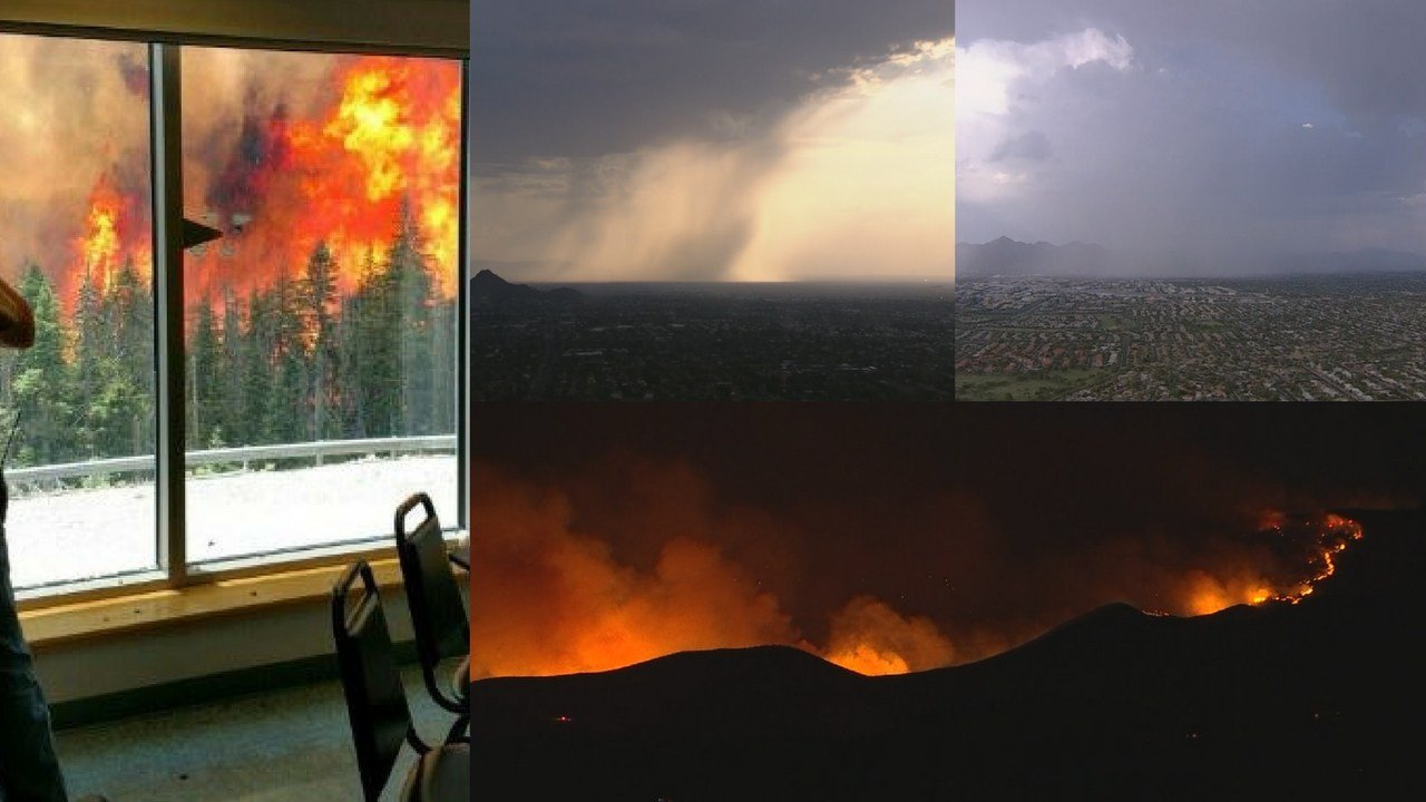 Dozens of wildfires are burning across Arizona -- but what a difference a week makes. (Source: 3TV/CBS 5/Mt. Graham Observatory)