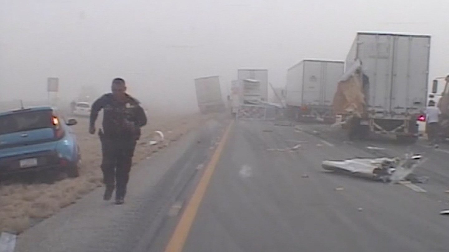 Dashcam video was released from a deadly NM pileup that killed a Phoenix family. (Source: KOAT)