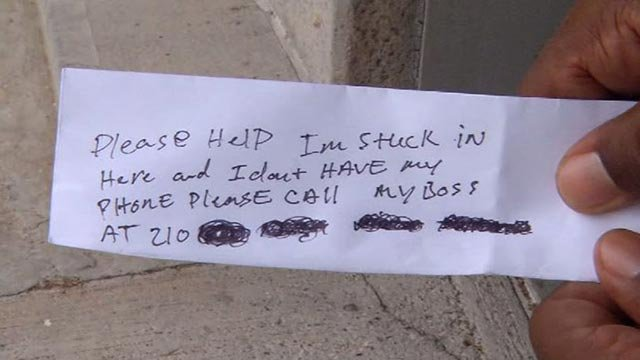 The note written by the man after becoming trapped in the ATM (Source: KRIS/CNN)
