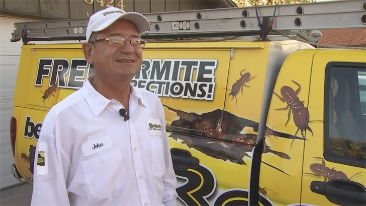 """""""I would leave them alone, but most people won't.They want it taken care of. They feel it's a threat,"""" said Johnny Ayon with Beebe's Pest Control. (Source: 3TV/CBS 5)"""