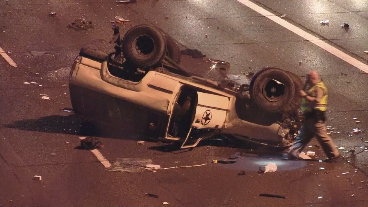 U.S. 60 is shut down at Gilbert Road while officials investigate the crash. (Source: 3TV/CBS 5)