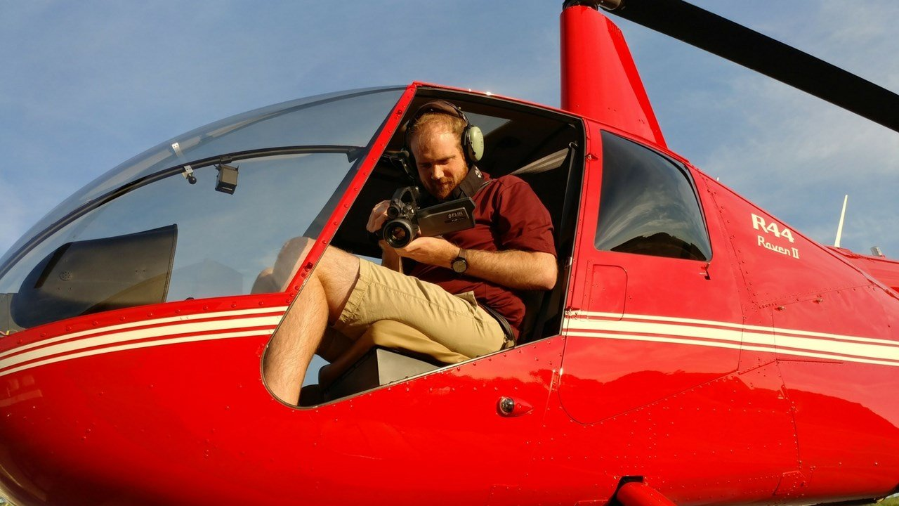 Reseacher Peter Crank, who studies urban heat, prepares for his research from the skies. He collects data on air temperatures compared to surface tempeartures. (Photo courtesy of Peter Crank and Mary Wright)