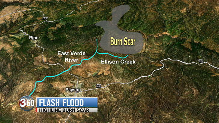The burn scar from the Highline Fire is just north of Payson and close to the swimming hole. (Source: 3TV Graphics)