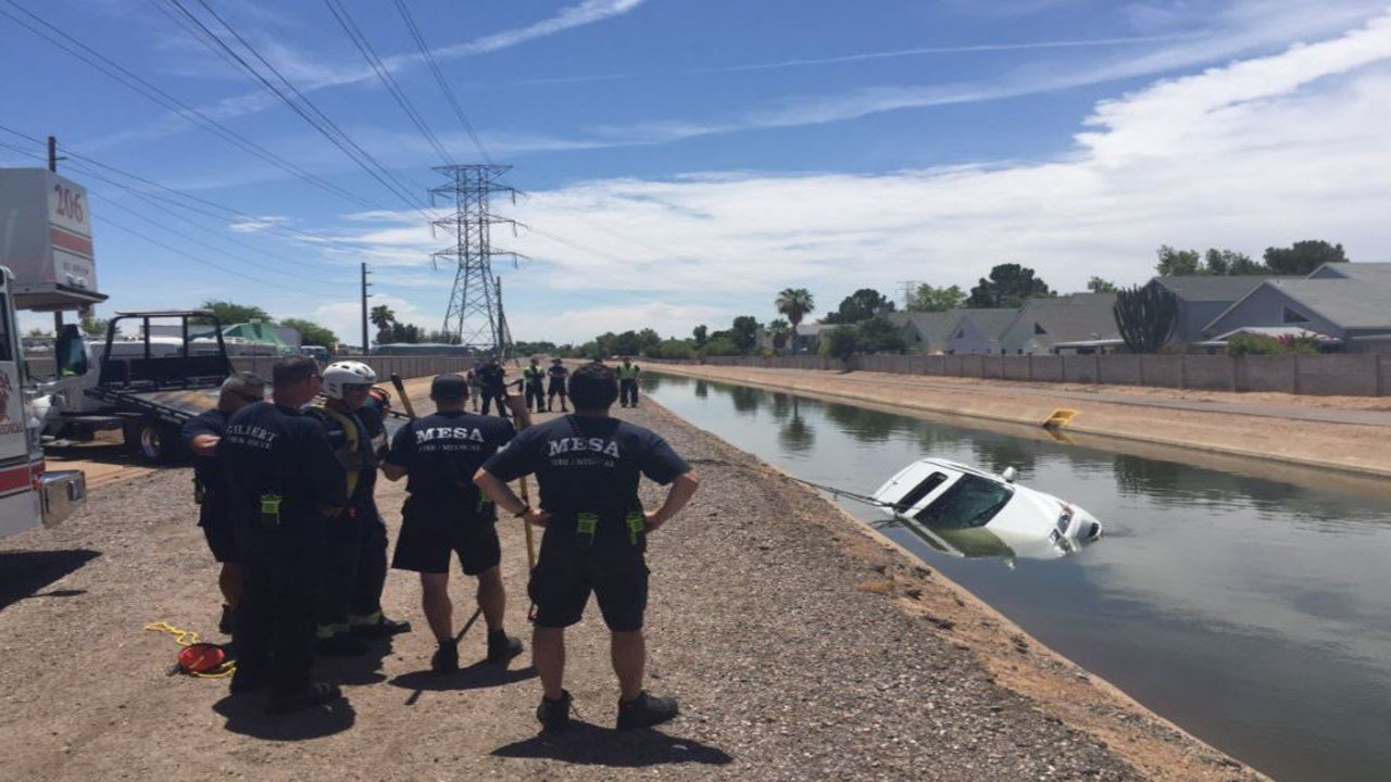 A man standing on his car were found in this canal. (17 July 2017) [Source: Mesa Fire and Medical]